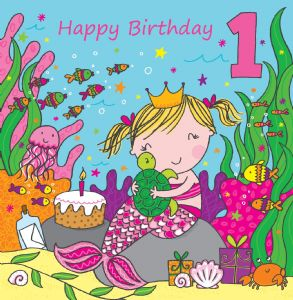 LIL1 - Age 1 Girls Birthday Card Mermaid